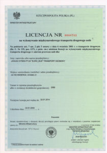 Licencja na wykonywanie międzynarodowego transportu drogowego osób.
